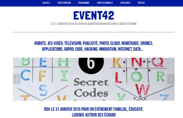 Capture d'écran du site de l'évènement